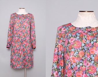 1960s Floral Day Dress / Vintage 60s Floral Pink Dress / Size Medium