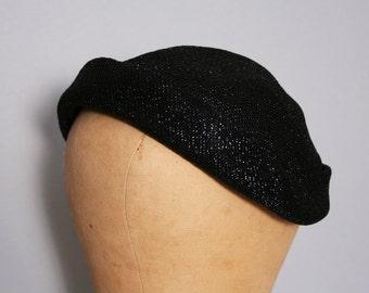 Vintage 1950s Hat / Black Metallic Hat