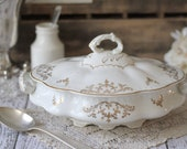 Antique American Porcelain Covered Casserole Dish - White and Gold - by Vodrey China - circa 1910's