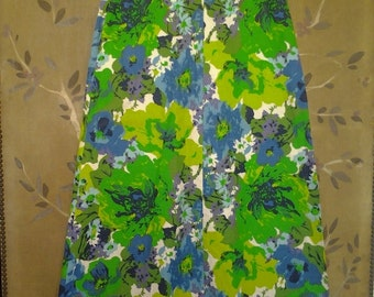 70s maxi green flower power A Line skirt