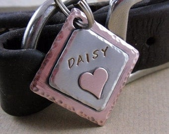 Dog Tag - Custom Pet ID Tag with Copper Heart