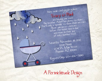second baby boy or girl sprinkle invitation print yourself file