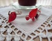 Red silver wire bracelet