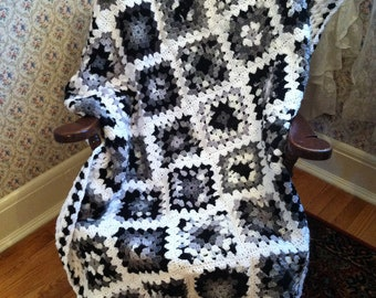 Extra Long Traditional Granny Square Afghan in Oreo - Black White Gray
