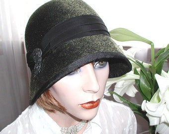 So Downton...black fuzzy cloche hat