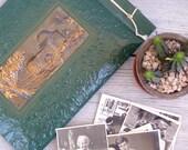 Vintage Ornate Jerusalem Photo Album, hammered out copper Rachel's Tomb site Album front