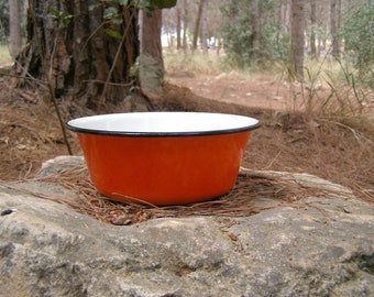 Farmhouse Orange Enamel Bowl, Soviet enamel bowl, Cottage Kitchenware, retro rustic bowl, vintage Planter, Autumn, Winter, Garden decor
