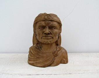 American Indian Head Figurine, Vintage Chief Bust, Carved Wood Face, Tribal Ethnic Decor, Native American Head Statue, Man Cave Bar Decor