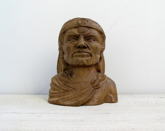 American Indian Wood head figurine, Vintage Chief Bust, hand carved brown wood tribal bust, Ethnic decor, Gift for man, Americana