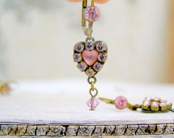Boho Heart Earrings, Retro Bohemian  pink earrings, Romantic gift for girlfriend, Hippie, Gypsy, Retro rhinestones earrings
