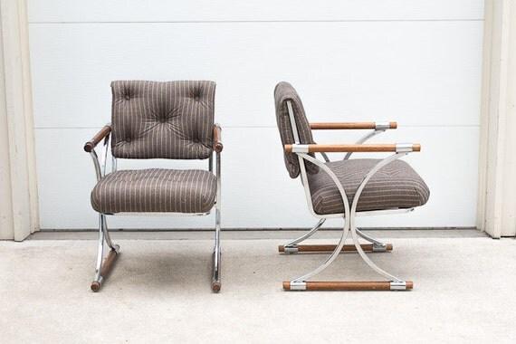 SALE Pair of Vintage Mid Century Herringbone Pinstripe Chrome and Wood Dowel Chairs