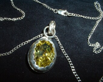 50% Discount – See Below. Peridot Faceted Cubic Zirconia Pendant with Sterling Silver Chain, Item 472 - FREE USA SHIPPING