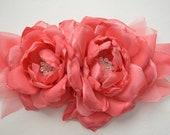 Coral Pink, Two Flower Sash - Maternity Sash, Bridal Sash, Photo Prop, Fabric Flowers, Chiffon Flowers, Flower Bridal Sash