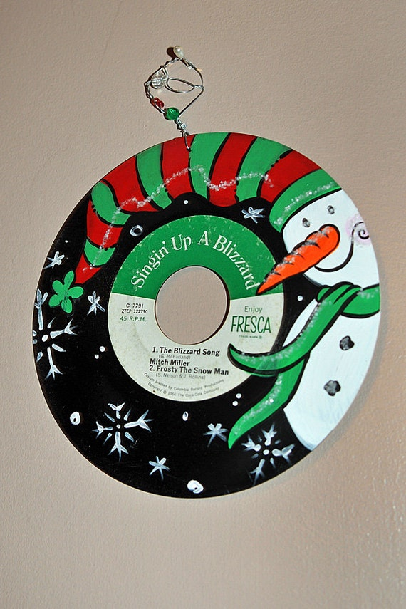 Hand Painted Snowman On Vinyl 45 Christmas Record