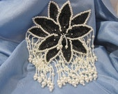 Large Black Sequin and White Beaded Floral Applique
