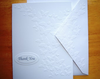 Set of 10 Embossed Butterflies Thank You Cards