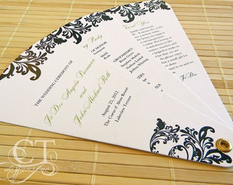 Petal Wedding Fan Program - Three Panel (Damask style) GETTING STARTED