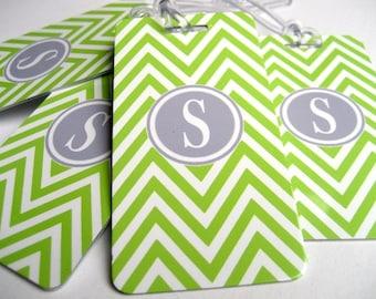 Luggage Tag - Family 4 -Pack Chevron Luggage Tags- Custom Lime Green Monogram Luggage Tag Set