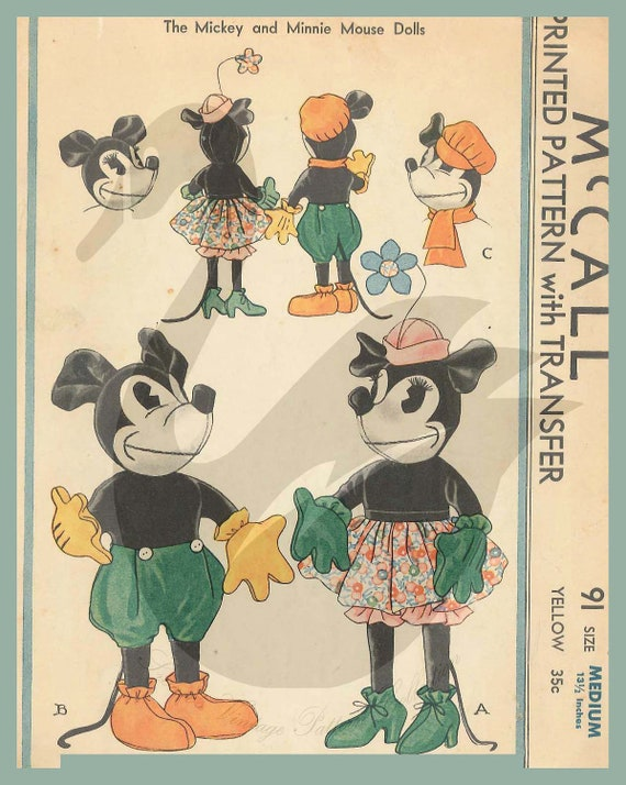 "Reproduction Vintage 1933 Mickey & Minnie Mouse 13.5"" Doll Sewing Pattern McCall 91"