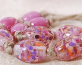 Pinkies - Handmade Lampwork Glass Beads - Oval Shaped Handmade lampwork Bead Set - Set H - SRA