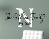 Personalized Family Name Signs - Name Wall Decal - Monogram Vinyl  Wall Decal - Last Name Decal-  Family Name Decal