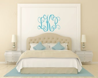 Custom Monogram Wall Decal // Initials Wall Decal // Monogram Decal // Bedroom Decal // Initials Decal  // Wall Decor //Monogram Art