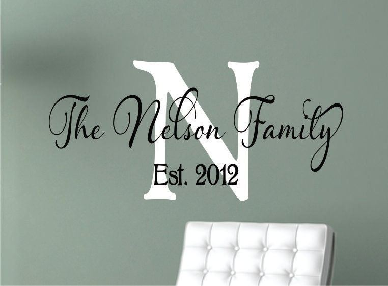Personalized Family Name Signs Name Wall Decal Monogram - Family monogram wall decals