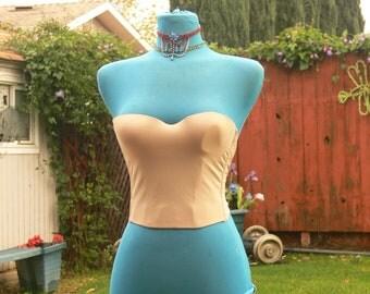 tan  boned strapless corset size 34a