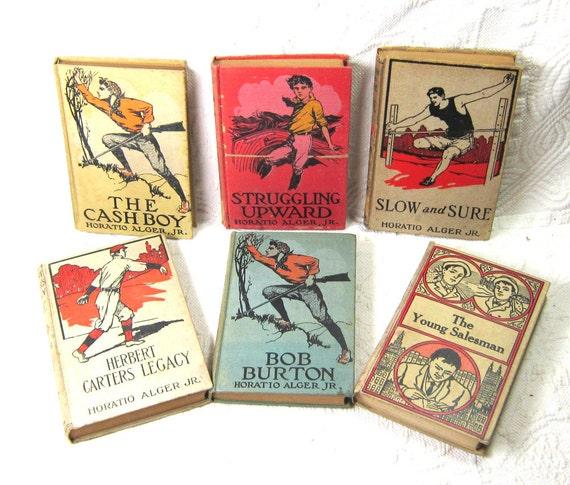 Antique Books Sports Books Boys  Outdoors Rugged Men Childrens Home Decor Gift for Him Horatio Alger