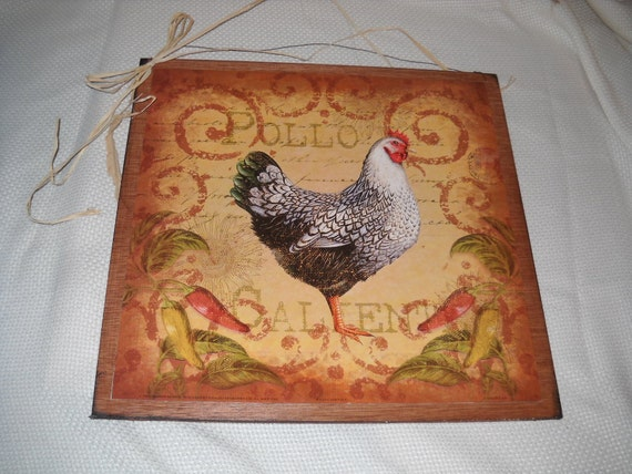 Rooster Pollo Calliente Wooden Kitchen Wall Art Sign