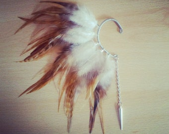 Feather ear cuff, Wrap Earring, Ear Wrap, Feather Ear Wrap, Feather Earrings, Tribal, Aztec, Festival