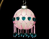 """Victorian Bubble Gum hand beaded Christmas Ornament 2.5"""" wrap One-of-a-Kind"""