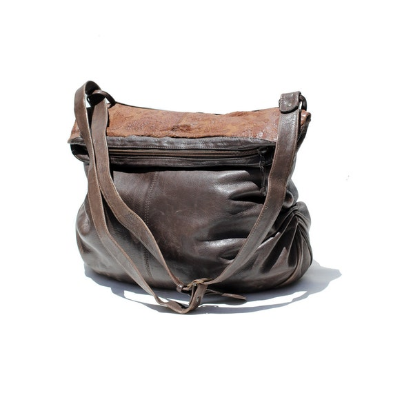 Italian dark brown leather shoulder bag