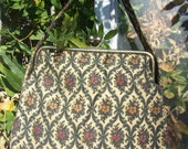 Vintage 1950's Carpet Bag Style Tapestry Seligman New York Autumn Colors Handbag Purse