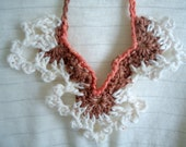 Crochet Angel Wings Necklace - Coral, Brown, and Cream