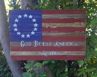 Wood Flag Personalized Rustic Americana on Reclaimed Laths 2'