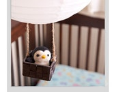 Hand Needle Felted Baby Mobile / Nursery Decor - Air balloon