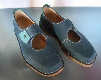 Handmade Womens Leather Shoes - Ocean Blue Turquoise  Leather Shoes - Light comfort  Leather Shoes