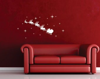 Santa's Sleigh Silhouette Reindeer Christmas Decoration Removable Wall Decal
