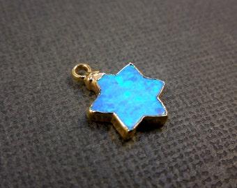 Star of David charm pendant-- Blue Opal Star of David edged in Gold (S3B10-10)