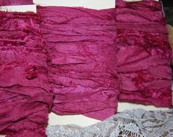 Cranberry Red Sari Silk Ribbon