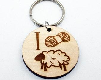I Yarn Ewe Keychain, Laser Cut Wood, Keychain