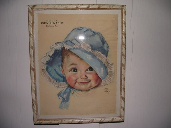Vintage frame and baby picture, Maud Tousey Fangel Print, Bright Eyes, Blue Bonnet baby, John R Nagle, Paxtonia, Pa,