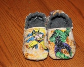 Super Hero Slippers Made with Vintage  Avengers / Marvel Comic Fabric