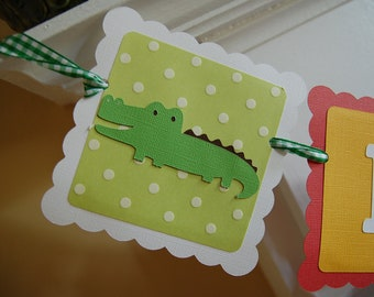 Alligator Name and age Banner, Alligator Banner, Alligator Birthday, Alligator Birthday, Alligator Party,
