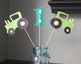 Green Tractor Centerpieces, Farm Birthday, 8 Pcs, Barnyard Bash,