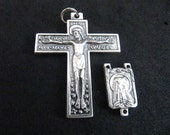 Italian Silver Florentine Rosary Crucifix and Matching Our Lady of Lourdes Center - 1 Set
