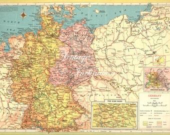 Antique Map Germany,  Ruhr Basin insert, german regions atlas 1940s