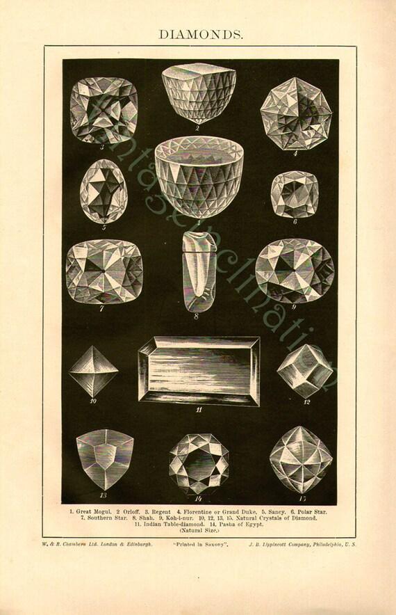 DIAMONDS Antique Print 1900, 15 cut diamonds carats orloff regent crystals natural size