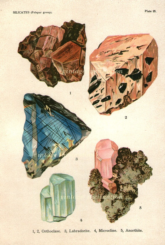 Antique gemstones : Vintage minerals print antique gems precious stones